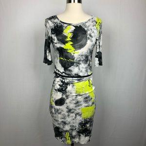 Topshop abstract fitted shirt dress zipper waist